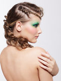 Woman with creative hairdo Royalty Free Stock Photography