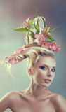 Woman with creative hairstyle Stock Photo