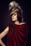 Woman in creative head wear with feathers Royalty Free Stock Photos