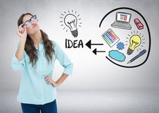 Woman with creative ideas graphic drawings. Digital composite of Woman with creative ideas graphic drawings Stock Photography