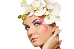 Woman with creative make-up Stock Images