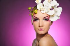 Woman with creative make-up Stock Image