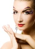 Woman with creative make-up Royalty Free Stock Photos