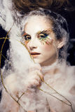 Woman with creative make up closeup like butterfly Royalty Free Stock Photos