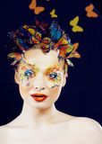 Woman with creative make up closeup like butterfly, halloween look for holiday celebration Royalty Free Stock Photos