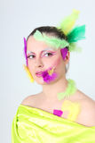 Woman with creative make-up and feathers Royalty Free Stock Photos