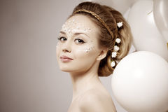 Woman with creative make-up of pearls Royalty Free Stock Image