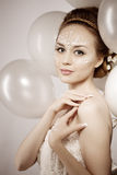 Woman with creative make-up of pearls Royalty Free Stock Photos