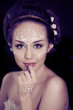 Woman with creative make-up of pearls Stock Photo
