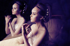 Woman with creative make-up of pearls royalty free stock photo