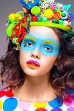 Woman with creative pop art makeup Royalty Free Stock Images
