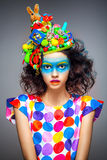 Woman with creative pop art makeup. Portrait of beautiful young woman with creative pop art makeup Royalty Free Stock Photo