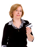 Woman with credit card. Isolated on white background Stock Photo
