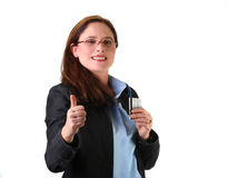Woman with credit card. Cheerful woman ready for shopping with her credit card Stock Photos