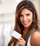 Woman with a credit card Royalty Free Stock Photos