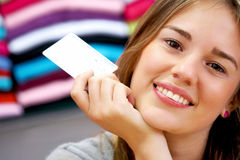 Woman - credit card Stock Images