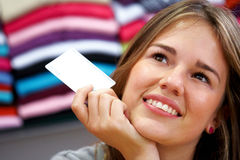 Woman - credit card Royalty Free Stock Photos
