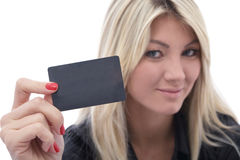 Woman with credit card. Beautiful woman with a credit card on white Royalty Free Stock Photo