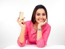 woman with a credit card royalty free stock photography