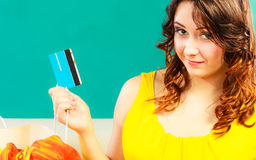 Woman with credit card doing shopping Royalty Free Stock Photography