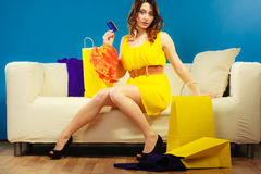 Woman with credit card doing shopping Royalty Free Stock Images
