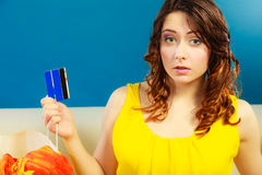 Woman with credit card doing shopping Royalty Free Stock Photo