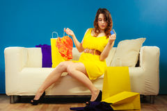 Woman with credit card doing shopping Royalty Free Stock Image