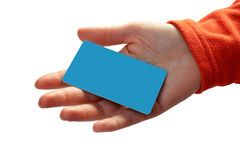 Woman with a credit card on her hand. On a white background stock photos
