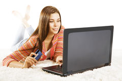 Woman Credit Card Laptop, Girl Using Notebook Online Payment Royalty Free Stock Image