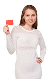 Woman with credit card Stock Image