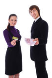 Woman with the credit card and woman with the mo Royalty Free Stock Photography