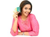 Woman with credit cards Royalty Free Stock Photography