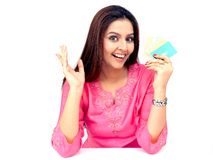 Woman with a credit cards Royalty Free Stock Images