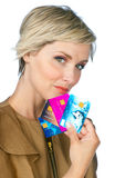 Woman with credit cards Stock Images