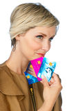 Woman with credit cards Royalty Free Stock Photo