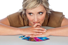 Woman with credit cards Stock Image