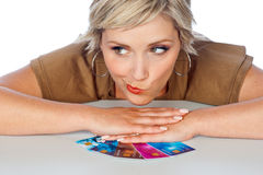 Woman with credit cards Royalty Free Stock Image