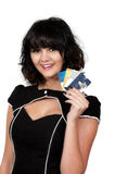 Woman Credit Cards. Beautiful young woman on a shopping spree with credit and debit cards Stock Photography
