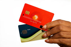 Woman with credit cards. Womans Hand Holding Credit Cards stock image