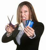 Woman With Credit Cards and Scissors Stock Photography