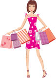 Woman in a crimson dress with bags. Shopping Stock Images