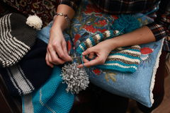 Woman crochet beanie warm wool Royalty Free Stock Photo