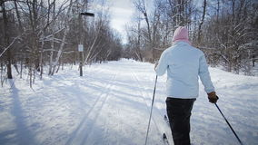 Woman Cross-Country Skiing Alone in Nature stock video