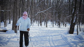 Woman Cross-Country Skiing Alone in Nature stock video footage