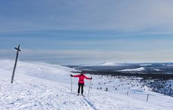 Woman cross country skiing in Lapland Finland Stock Images