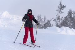 Woman cross country skiing in Lapland Finland Royalty Free Stock Photos