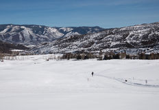 A woman cross-country skiing at valley in Utah. Cross-country ski trail in Utah, USA Royalty Free Stock Photos