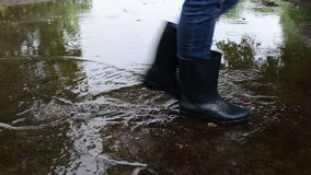 Woman cross soak water stock video