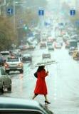 Woman cross the street Royalty Free Stock Photo