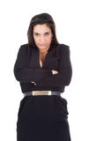 Woman crossed arm and angry face Stock Photos